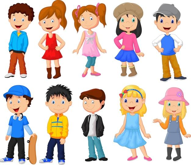 Conjunto de colección de dibujos animados niños y niñas