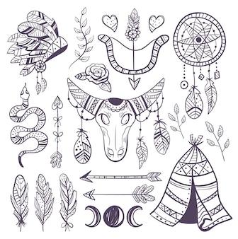 Conjunto de colección de diseño de elementos indios dibujados a mano boho