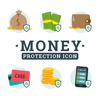 Conjunto de colección de diseño de icono de protección de dinero
