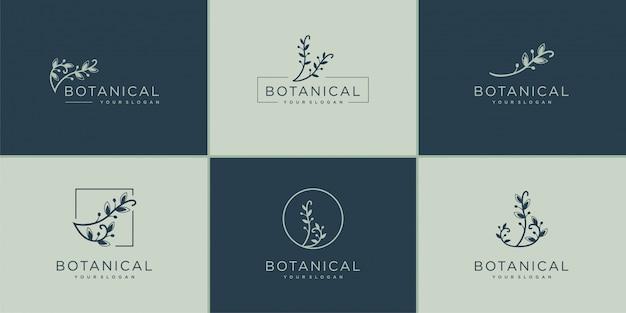 Conjunto de colección de diseño de logotipo botánico, belleza, lujo, colección, salud, naturaleza