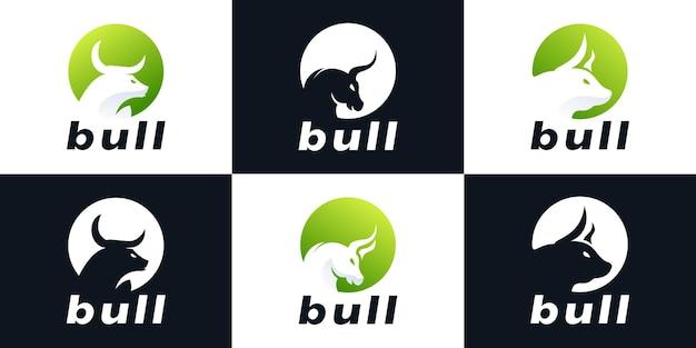 Conjunto de colección de diseño de logotipo de círculo de combinación de toro creativo