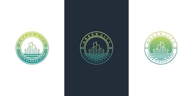 Conjunto de colección de diseño de logotipo de ciudad verde con estilo de arte de línea de emblema moderno vector premium