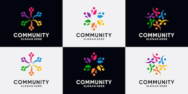 Conjunto de colección de diseño de logotipo de comunidad creativa para equipo y familia de personas