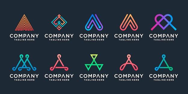 Conjunto de colección de diseño de logotipo creativo letra a.