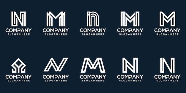 Conjunto de colección de diseño de logotipo de letra creativa nm