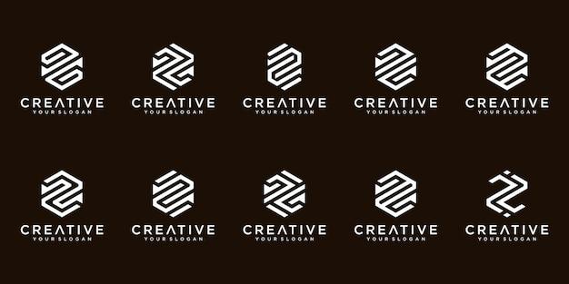 Conjunto de colección de diseño de logotipo de letra z monograma abstracto creativo