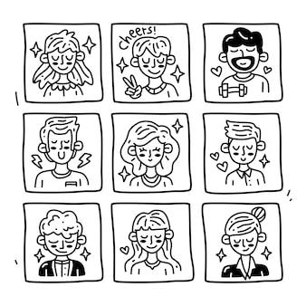 Conjunto de colección de doodle de avatar en estilo moderno dibujado a mano