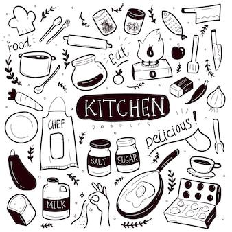 Conjunto de colección de doodle de cocina dibujado a mano