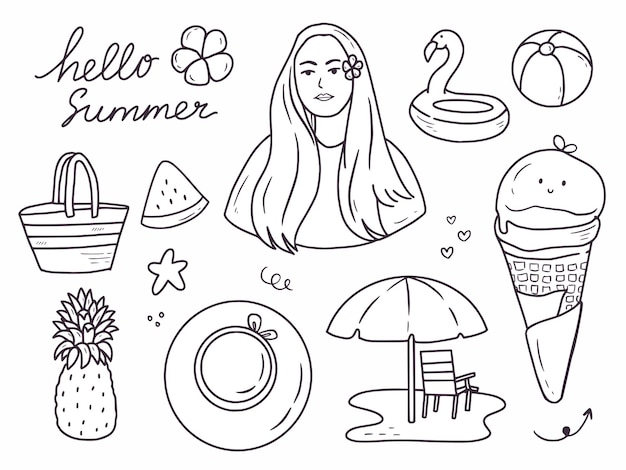 Conjunto de colección de doodle de dibujo a mano de icono de verano.