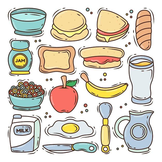 Conjunto de colección de doodle de dibujos animados de desayuno dibujado a mano
