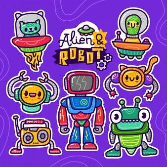 Conjunto de colección de doodle de elemento alienígena alienígena y robot