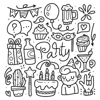 Conjunto de colección de doodle de elemento de fiesta sobre fondo blanco aislado. fiesta de doodle