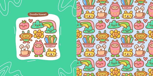 Conjunto de colección doodle de elemento kawaii aleatorio y patrones sin fisuras
