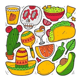 Conjunto de colección doodle de elemento de méxico. cinco de mayo