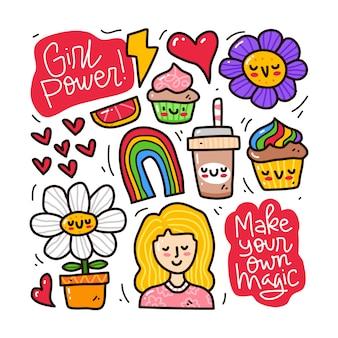 Conjunto de colección doodle de elemento de poder de niña