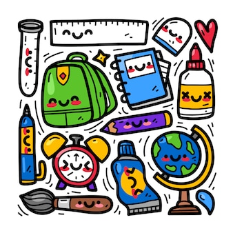Conjunto de colección doodle de elemento de regreso a la escuela
