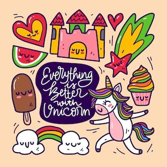Conjunto de colección doodle de elemento unicornio