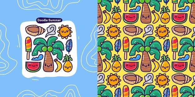 Conjunto de colección doodle de elemento de verano y patrones sin fisuras