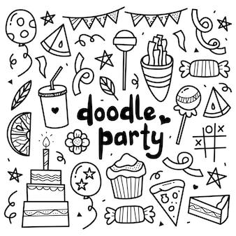 Conjunto de colección doodle de elementos de fiesta de cumpleaños