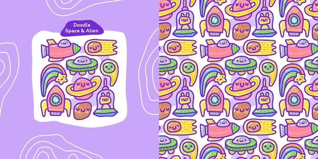 Conjunto de colección doodle de espacio y elemento alienígena y patrones sin fisuras