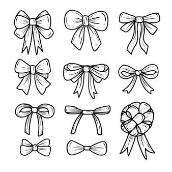 Conjunto de colección de doodle de icono de dibujo a mano de cinta de pajarita, ilustración