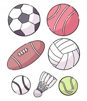 Conjunto de colección de doodle de ilustración de pelota deportiva