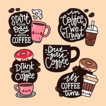 Conjunto de colección de doodle de mano y cita de letras dibujadas sobre café