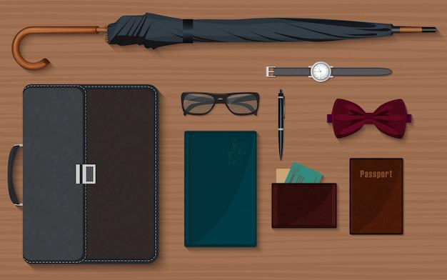 Conjunto de colección de elementos de diseño de cosas de caballeros.