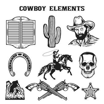 Conjunto de colección de elementos de vaquero del salvaje oeste vintage