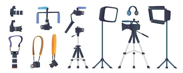 Conjunto de colección de equipos de fotografía y videografía.