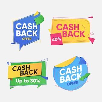 Conjunto de colección de etiquetas de devolución de dinero