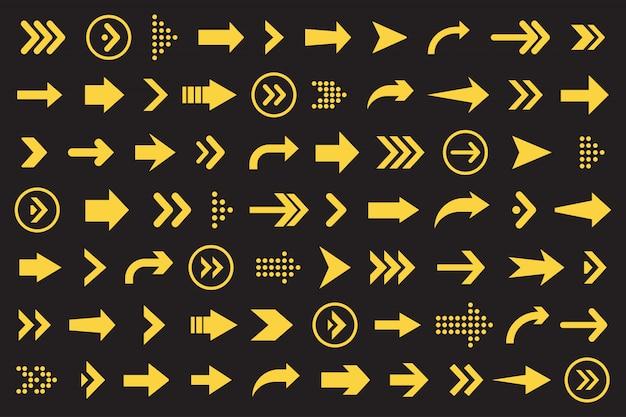 Conjunto de colección de flechas en color naranja sobre fondo negro para diseño de sitios web