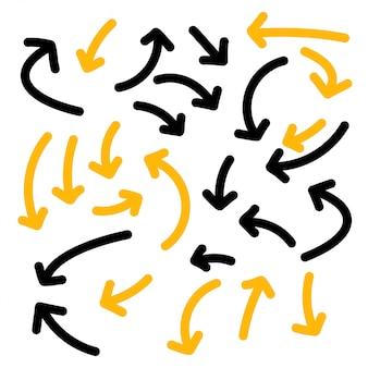 Conjunto de colección de flechas dibujadas a mano líneas audaces
