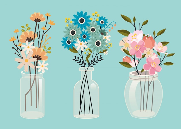El conjunto de la colección de flores en el paquete de tarros en arte vectorial plana.