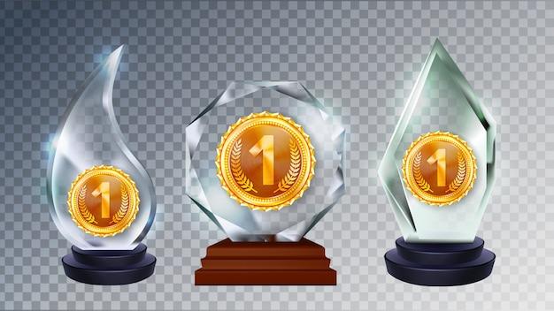 Conjunto de colección de formas diferentes de glass award