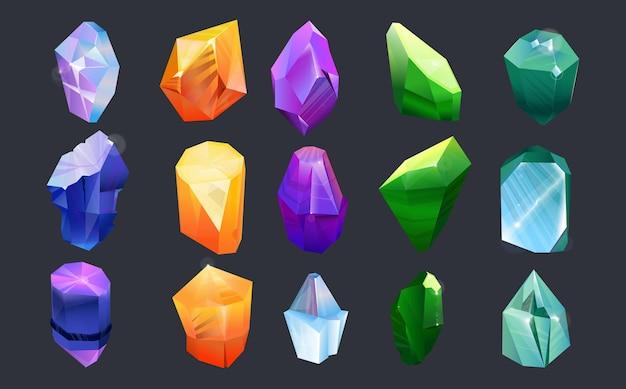 Conjunto de colección de gemas coloridas. piedras preciosas, joyas de formas y colores abstractos