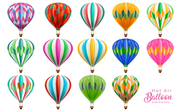 Conjunto de colección de globos de aire caliente, globos de colores en la ilustración sobre fondo blanco.
