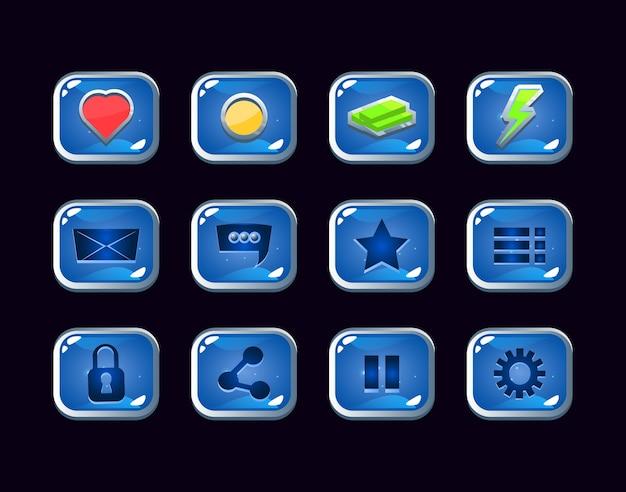 Conjunto de colección de icono de interfaz gráfica de usuario de gelatina con borde plateado para elementos de activos de interfaz de usuario del juego