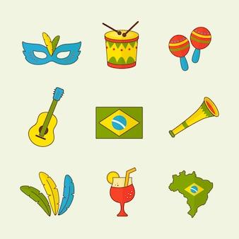 Conjunto de colección de iconos de carnaval brasileño del festival de río