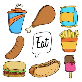 Conjunto de colección de iconos de comida chatarra doodle sobre fondo blanco