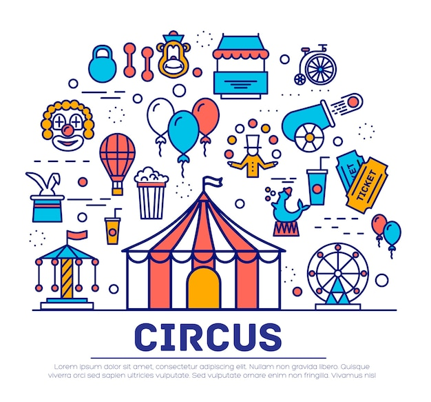 Conjunto de colección de iconos de contorno de circo
