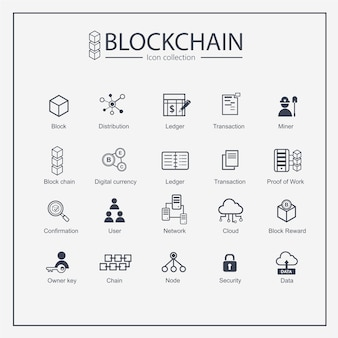 Conjunto de colección de iconos de contorno de web de cadena de bloque