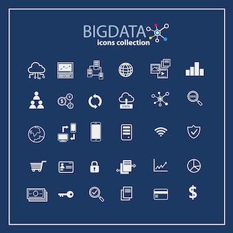 Conjunto de colección de iconos de datos grandes