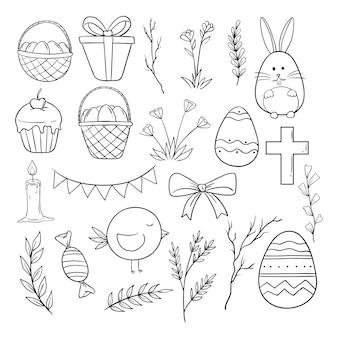 Conjunto de colección de iconos de pascua con estilo dibujado a mano o doodle