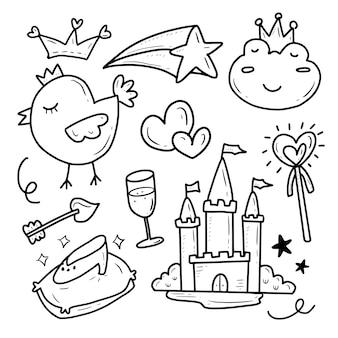 Conjunto de colección de iconos de princesa y castillo de cuento de hadas