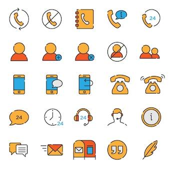 Conjunto de colección de iconos de soporte de contacto