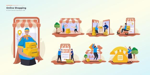 Conjunto de colección de ilustración de compras en línea
