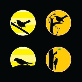 Conjunto de colección de ilustraciones de siluetas de aves