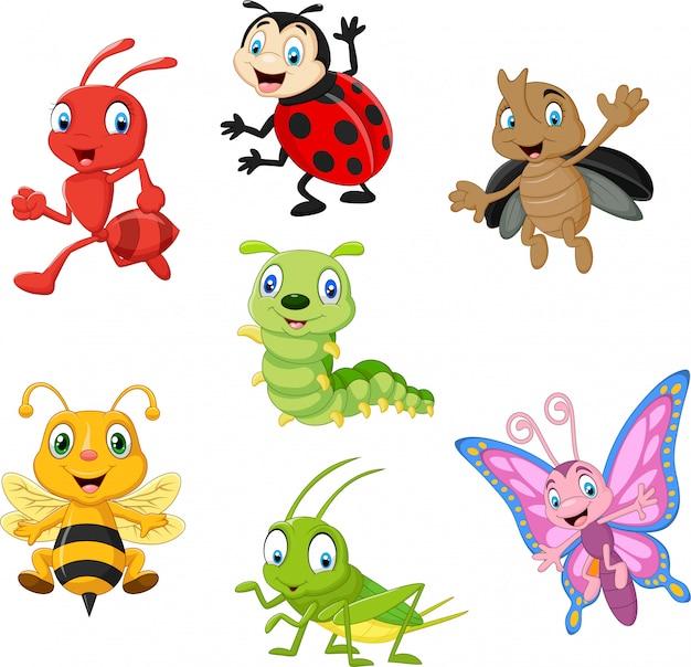 Conjunto de colección de insectos divertidos dibujos animados