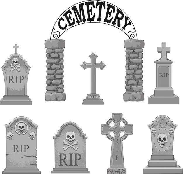 Conjunto de colección de lápidas de dibujos animados